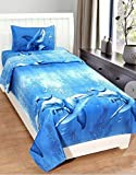 #10: Gharshingar 160TC Blue Colour Dolphin Single Bedsheet with Pillow Cover