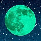 Paraboo Leuchtmond selbstklebend 30cm grün ideal als Kinderzimmer Wandaufkleber oder Aufkleber für Schlafzimmer Sternenhimmel