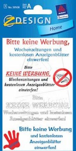 Schmuck-Etikett 76X120Mm Keine Werbung 59508 Zwe