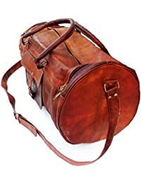 Leather Bag Vintage Genuine 24'' Round Duffle Cum Gym Bag By Znt Bag Kfd - 5005