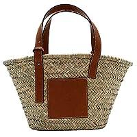 Lopbinte Straw Bag Woven Tote Super Popular Large Capacity Basket Bag Designer Beach Bag Khaki Large