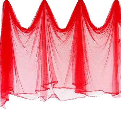 Lindahaot Hochzeit Kulisse Gazevorhang Organza-Gewebe-Stuhl-Abdeckung DIY Hochzeit Venus Dekoration Hellrot 9 * 1.5m -