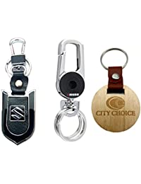 City Choice New Combo Of Suzuki Leather-Metal & 3709 Black Hook-Locking KeyChain