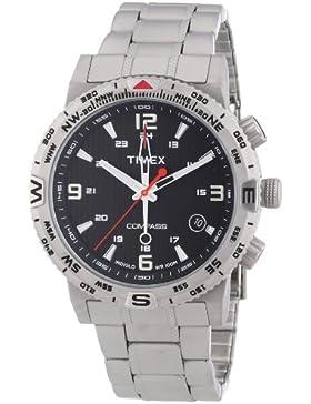 Timex Herren-Armbanduhr XL Adventure Series Compass Analog Quarz Edelstahl T2P289