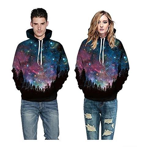 YYHSO Unisexe Imprimé 3D Galaxie Sweat Décontractée Sweat-shirts à Capuche Amoureux avec Big Pockets (S M L XL 2XL 3XL) , Couple Hoodies C Style , l/xl