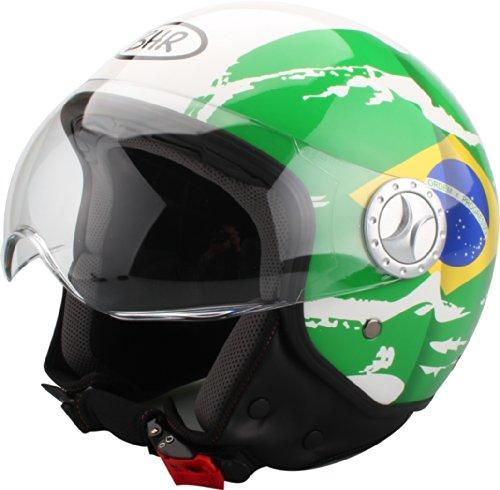 BHR Helm Demi-Jet, Brasilianische Flagge, 59-60 (L) (Brasilianisches Leder)