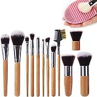 Sunroyal® Set di 12 pennelli da trucco professionali con manico in bambù, setole sintetiche (pennello kabubi, per fondotinta sfumare blush, correttore, occhi, viso, liquidi, polveri, creme) cosmetici compone le spazzole corredo