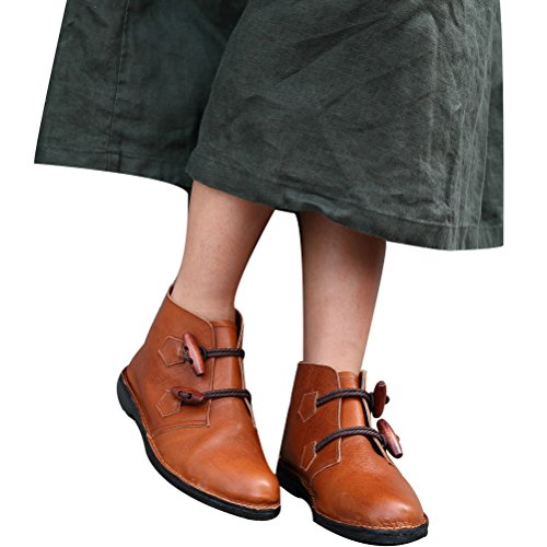 Vogstyle Femmes Chaussures En Cuir Bottes Marron