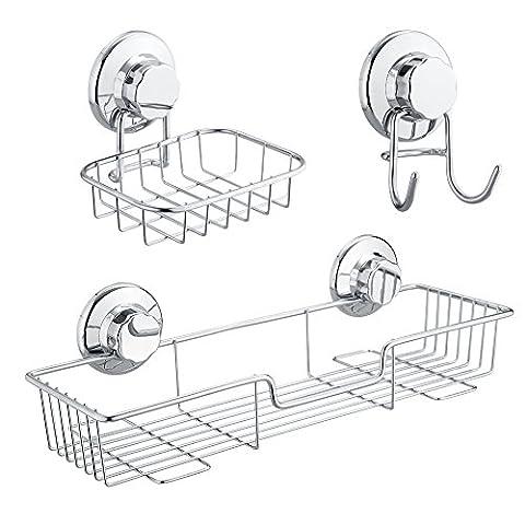 SANNO Dusche-Teadose-Organisator-Korb, Seifenschale-Schwamm-Halter Hooks mit Saugen-Pokal für Küche und Badezimmer-Lagerung - Satz 3, SUS 304 (Bronzo Bagno Piastrelle)