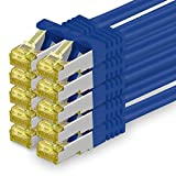 Cat.7 Netzwerkkabel 0,25m - Blau - 10 Stück - Cat7 Ethernetkabel Netzwerk LAN Kabel Rohkabel 10 Gb/s (Sftp Pimf) Set Patchkabel mit Rj 45 Stecker Cat.6a