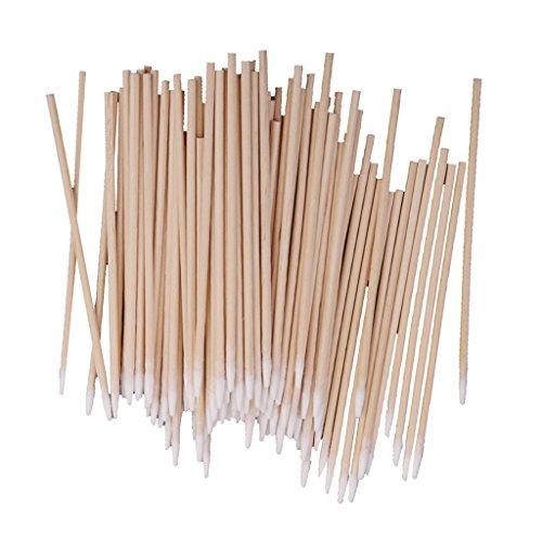 Lot de 100pcs Cotons-tiges Poignée de Bois Outil pour Maquillage Laboratoire 10cm