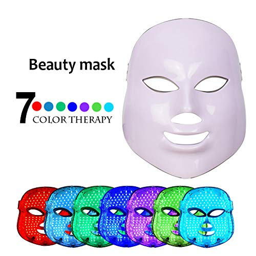 DXXCV Pro 7 Color LED-Gesichtsmaske, Photon Red Light-Therapie für gesunde Hautverjüngung, Kollagen, Anti-Aging, Narbenbildung, Gesichtsmaske,White -