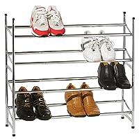 4 Tier Stackable Extendable Chrome Shoe Rack Boot Shelf Organiser Holder Tidy Shopmonk