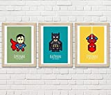 3 affiches Super héros, Superman, Spiderman, Batman
