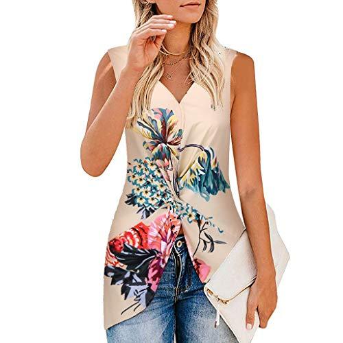 Wawer Damen Top  Frauen Sommer Blumendruck mit V-Ausschnitt Geraffte Tops lose beiläufige Bluse Shirts, Lose Ärmellose Sling T-Shirts Sexy Schulterfrei Tops irregulär - Lange Geraffte Cami Kleid