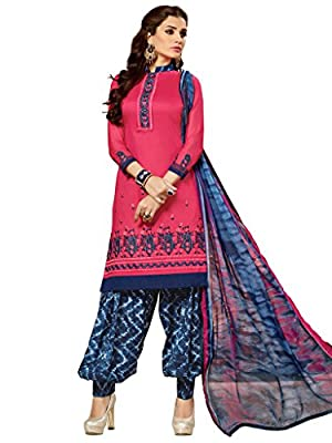 Varayu Women's Pink and Blue Coloured Embroidered and Printed Unstitched Glace Cotton Dress Material With Printed Patiyala Style Bottom and Dupatta,Punjabi Salwar Kameez Suit,Party Wear For Girls