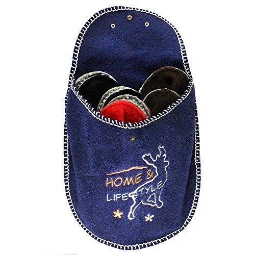 Com-Four Pantoufles Chaussures de Set 6pièces, Chaussons Maison d'hôtes, dimensions: 36-45, en feutre bleu rond