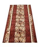 Läufer Teppich Flur Brücke - Muster Griechisch in Braun - Teppichläufer Klassisch Kollektion 120 x 300 cm