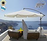 PREMIUM XXXL Ampelschirm 350 cm, 8-teilige Form, 3,50 x 3,50 m, robustes ca. 200 g/m² Polyester, weiss / beige, Sonnenschirm UV50+ KOMPLETT mit Standkreuz, Standfuß + ca. 50 mm Mast, Hängeschirm Sonnendach Überdach, Schirm Strandschirm, stabiler Gartenschirm, faltbarer Sonnenschirm - beige hellbraun hell-weiss, Schirm, tragbar, Strandschirm, hochwertig robust stabil, Sonnenschutz, stabiler Schirm Schirm