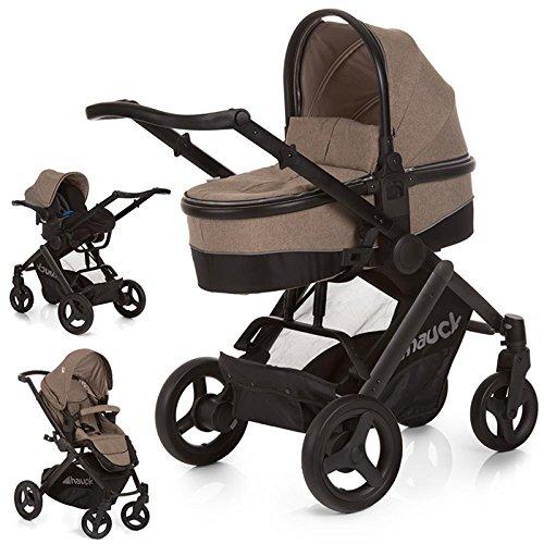 Hauck 3 in 1 Kinderwagenset, Maxan 4 Plus Trio Set, inkl. Babyschale, Kinderautositz Gruppe 0 für Isofix Base, Babywanne, Kombikinderwagen, ab Geburt bis 22 kg, schwarz beige (melange sand)