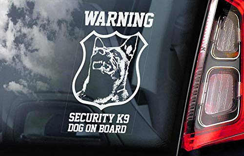 CELYCASY Cycay Security K9 Dog on Board - Autoscheiben-Aufkleber - Belgisches Malinois Mechelse Herder Security K9 Schild - V08 Home-security-sticker