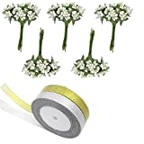 5 Bunches Mini Artificial Stamen Bud Bouquet flower for home Garden wedding Car corsage decoration Box crafts Supplies Wreath with Silver & Golden Ribbon by Wetrys - Wetrys - amazon.co.uk