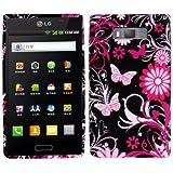 Rocina TPU Case Schutzhülle für LG P700 / P705 Optimus L7 Schmetterlinge schwarz pink