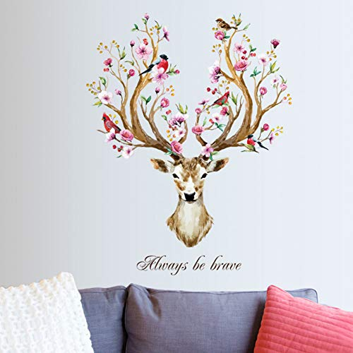 PNSHD Kreative Sikawild Blume Vogel Abnehmbare Wohnzimmer Schlafzimmer Möbel Dekor Wand Vinyl DIY Wandaufkleber Aufkleber Poster