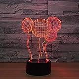 Luz nocturna 3D, Cara sonriente globo Lámpara, Lampara LED para niños, 7 colores de iluminación de escritorio táctil con USB, El mejor regalo de los niños