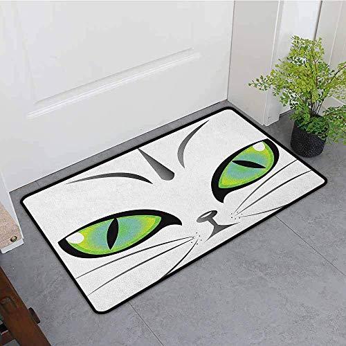 Badematte, Augen-Gesicht eines Wachsamen Tieres der entzückenden sibirischen Katzen-grünen Augen und der Bärte, fertigen Fußmatten für Hauptmatte, gelbgrüne graue schwarze Bad-Matte besonders an (Bart Der Katze)
