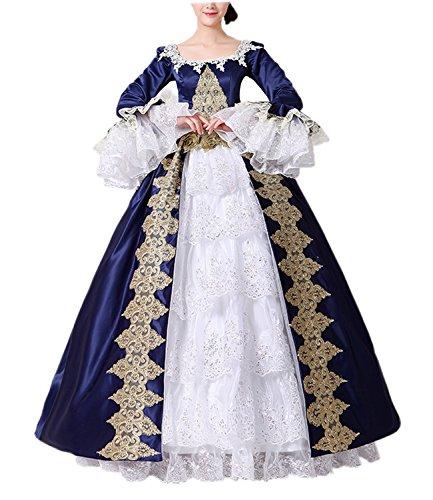 Nuoqi Damen Satin Gothic Viktorianisches Kleid Renaissance Maxi Kostüm (Maßgeschneidert, CC3032B-NI)
