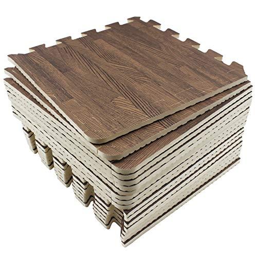 Umi. Essentials 1\' x 1\'(30cm x 30cm ) Ineinandergreifende Bodenmatten aus Schaumstoff (Holzmaserung) (18 Pcs) (Dunkel)