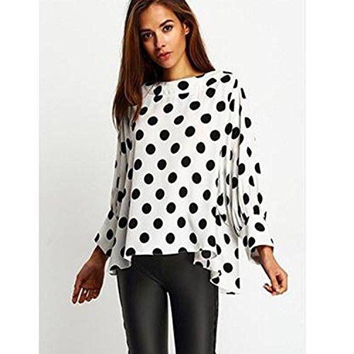 ZHUDJ Señoras Panes Camisa Camisa De Lunares Sueltos,Blanca,XL