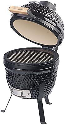 Rosenstein & Söhne Keramik Grill: 2in1-Kamado-Keramik-Kugelgrill & Smoker, Thermometer, Lüftung, Ø 27 cm (Kamado Grill)