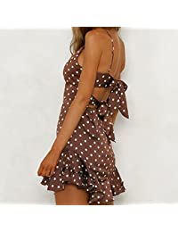 7810a57e0282 Amazon.it  abito pois - Marrone   Vestiti   Donna  Abbigliamento