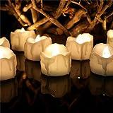 Amzbeauty 12pcs Warmweiß Teelichter LED Timer Flackern, CR2032 Batteriebetrieben Kerzen Elektrisch Hell für Weihnachten, Aussen Urlauben Dekorationen