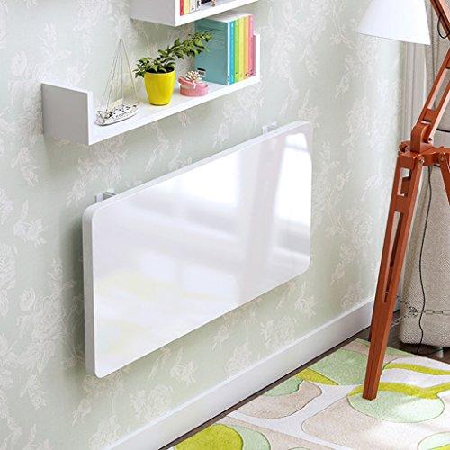 LSLMCS SHOPS Lesehalter Tablett Bett Tragbarer Klapptisch Klappbarer Schreibtisch Laptop Ständer Massivholz Wandbehang Computertisch Küchen-Esstisch(Farbe: Weiß, Größe Optional) (Size : 110 * 40cm)