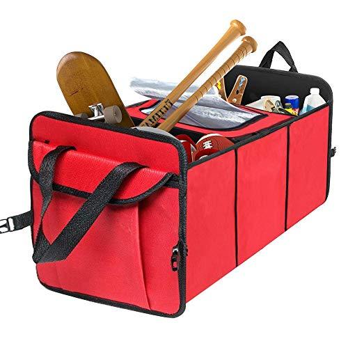 Preisvergleich Produktbild PXQ Auto Boot Organizer Taschen Faltbare Stamm Aufbewahrungsbox Oxford Stoff Mehrzweck Tragbare Große Beste Auto Organizer für alle Fracht, Red