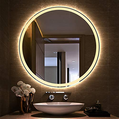 Led Iluminado para baño Espejo Redondo para Sala de Estar Pared HD Impermeable Plateado Inteligente...