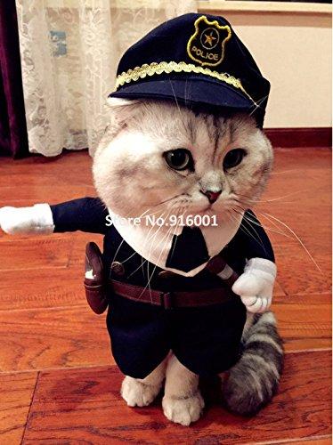Polizei Pet Kostüm - Pet-Polizei Kostüm Anreise Haustier lustige Kostüme für Katzen und kleine Hunde Party Halloween Polizist Hund Kleidung, navy blue, 5.