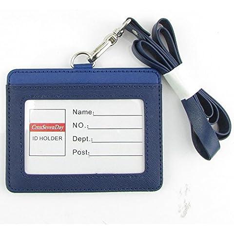 Cmxsevenday A7913 Fronte / Retro Pu Pelle Carta D'identità Titolare, Formato Orizzontale - Blu