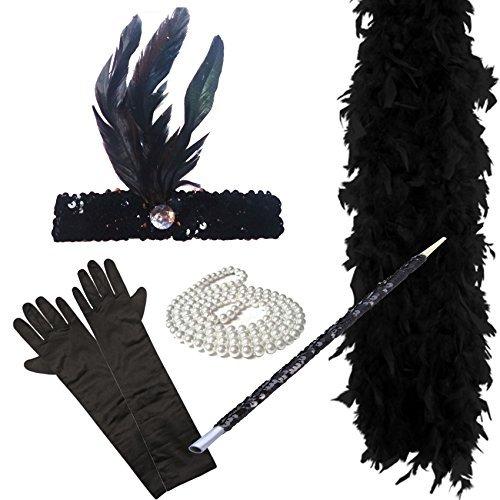 Paper Umbrella Fancy Dress 1920 Charleston Kostüme 5 Stück Schwarz