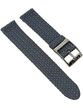 Perlonband Zweiteliges Band, geflochten - Uhrenarmband 20mm 28932S, Farbe:grau