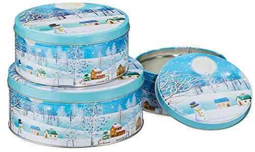 heimtexland ® Keksdosen Set 3-teilig Weihnachten Plätzchendose Gebäckdose Rund Winterdorf Typ658