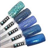 Color Gel 5er Set (je 5ml): Blaue Glitter Kollektion - Gel Blau, Gel Hellblau, Gel Dunkelblau