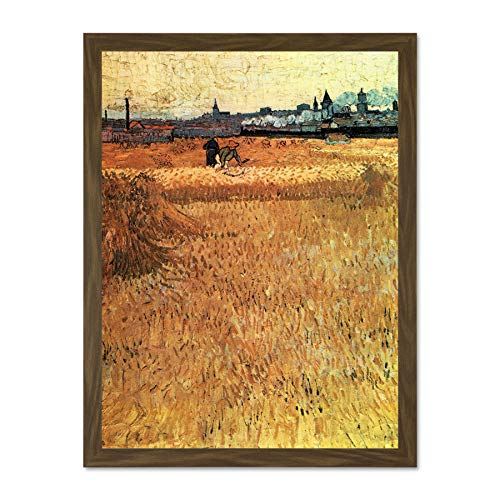 Doppelganger33 LTD Vincent Van Gogh Wheat Field with View Arles Art Painting Picture Large Framed Art Print Poster Wall Decor 18x24 inch Supplied Ready to Hang -