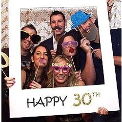 TOSSPER Fête d'anniversaire Heureux Cadre de 30 Ans Stand Vieux Joyeux Anniversaire Photo Booth Props Photo Décoration Party Supplies événement