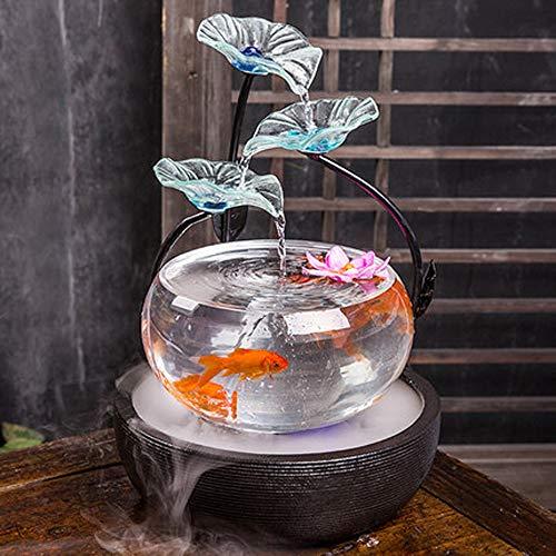 CZWYF Wohnzimmer Glas Aquarium TV Schrank Wasser Dekoration Brunnen Hause Schreibtisch Oberfläche Luftbefeuchter Kreative Eröffnung Geschenk Sculpture Statue (Farbe : #1) (Schreibtisch Brunnen)
