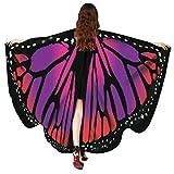 Huhu833 Schmetterling Kostüm, Damen Schmetterling Flügel Umhang Schal Poncho Kostüm Zubehör für Show/Daily / Party (Rot, 168 * 135CM)