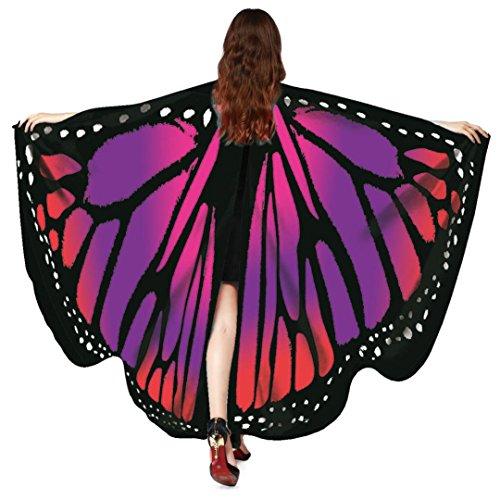 Huhu833 Schmetterling Kostüm, Damen Schmetterling Flügel Umhang Schal Poncho Kostüm Zubehör für Show/Daily/Party (Rot, 168 * - Rot Party Kostüm